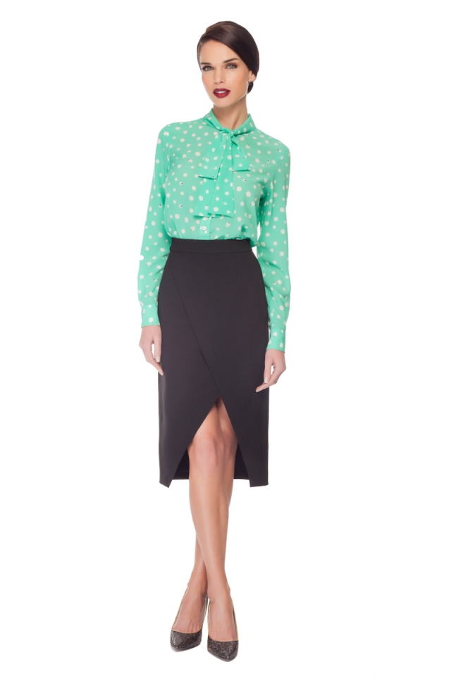 BOW TIE BLOUSE & CUT OUT SKIRT