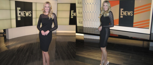 E! NEWS CORRESPONDENT  ASHLAN GORSE IN THE RACHEL SIN POLKA DOT & PONTI KNIT JENNIFER DRESS FROM FW2013